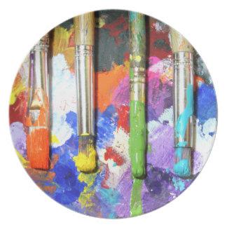 Rainbows In Progress Artist's Brushes Plates