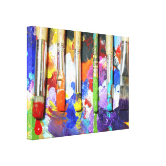 Rainbows In Progress Paint Brush Photography Canvas Print