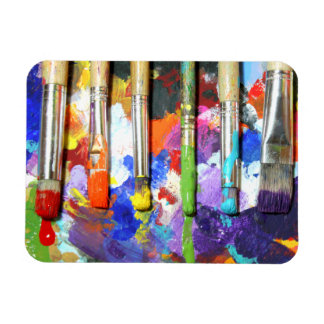 Rainbows In Progress Paint Brush Photography Magnet