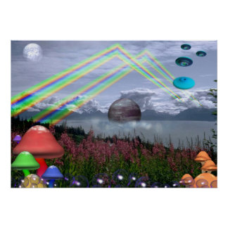 Rainbows, mushrooms and UFO poster