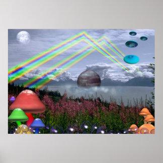Rainbows, mushrooms and UFO poster