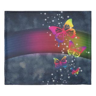 Rainbows N Butterflies Duvet Cover at Zazzle