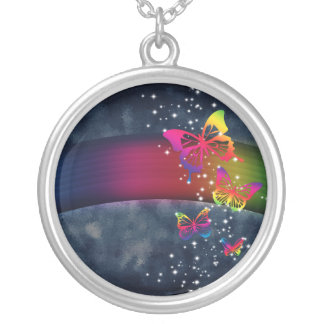 Rainbows n Butterflies Silver Plated Necklace