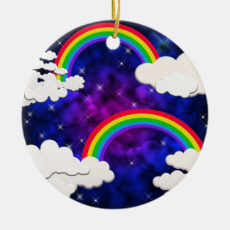 Rainbows, Stars and Clouds in a Night Sky Ceramic Ornament