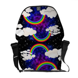 Rainbows, Stars and Clouds in a Night Sky Messenger Bag