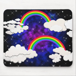 Rainbows, Stars and Clouds in a Night Sky Mouse Pad