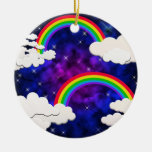 Rainbows, Stars and Clouds in a Night Sky Christmas Ornament