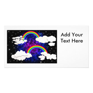Rainbows, Stars and Clouds in a Night Sky Photo Card