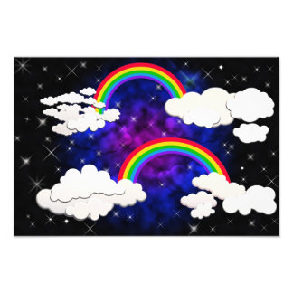 Rainbows, Stars and Clouds in a Night Sky Art Photo