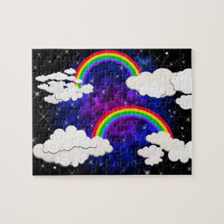 Rainbows, Stars and Clouds in a Night Sky Jigsaw Puzzle
