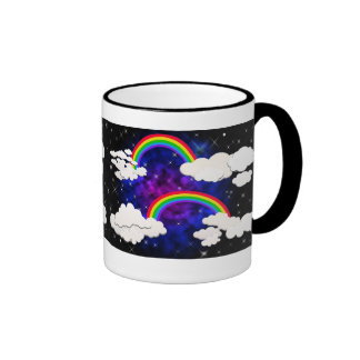 Rainbows, Stars and Clouds in a Night Sky Ringer Mug