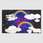 Rainbows, Stars and Clouds in a Night Sky Stickers