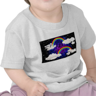 Rainbows, Stars and Clouds in a Night Sky T Shirts