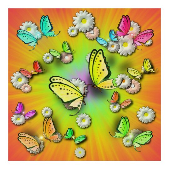 Rainbows Swallowtails and Daisys in 3D  Poster