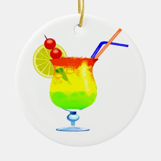 Rainbows Tropical Drink Double-Sided Ceramic Round Christmas Ornament