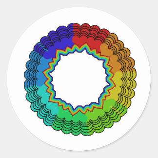 rainbowsheartsflowers2 classic round sticker