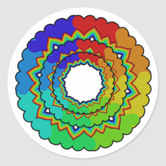 rainbowsheartsflowers classic round sticker