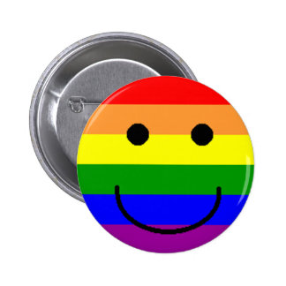 rainbowsmiley pinback button
