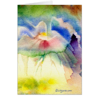 RainbowVolcano Watercolor Greeting and Note Card