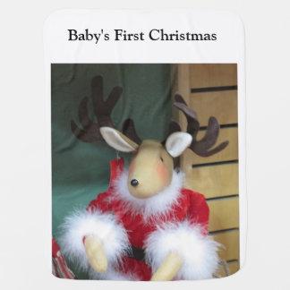 Raindeer First Christmas Baby Blanket