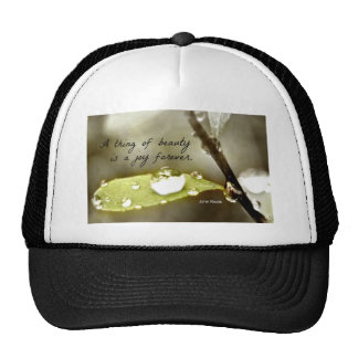 Raindrop on leaf with quote A thing of beauty Trucker Hat