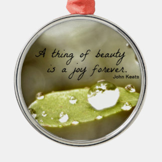 """Raindrop on leaf, with quote: """"A thing of beauty"""" Metal Ornament"""