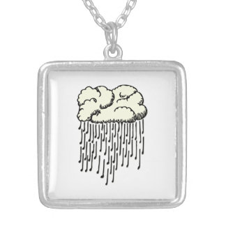 Raindrop prelude (musical notes raining) silver plated necklace