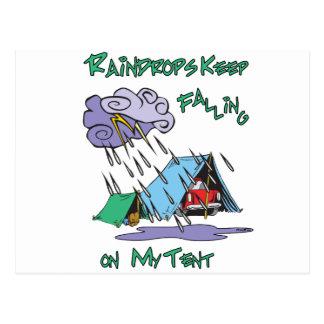 Raindrops Camping Postcard