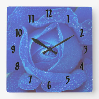 Raindrops On A Blue Rose Square Wall Clock