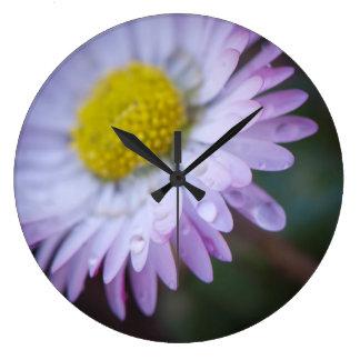 Raindrops on a daisy large clock