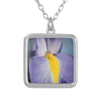 Raindrops on a Purple and Yellow Iris Silver Plated Necklace