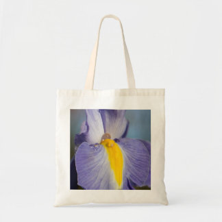 Raindrops on a Purple and Yellow Iris Tote Bag