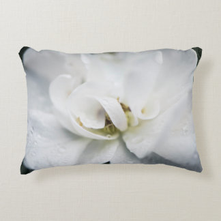 Raindrops on a white rose accent pillow