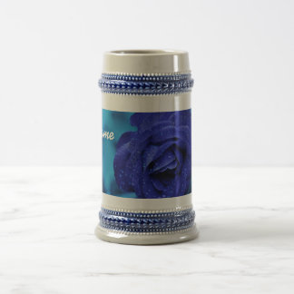"""Raindrops on Blue Rose"" Beer Stein"