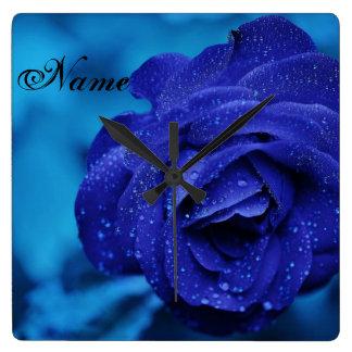 """Raindrops on Blue Rose"" Wall Clock"