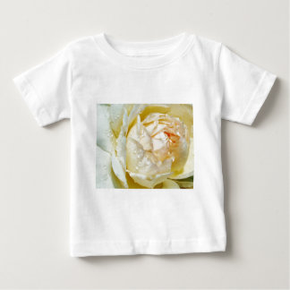 Raindrops on Champagne Blush  White Rose floral Baby T-Shirt