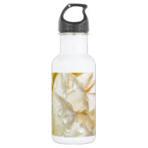 Raindrops on Champagne Blush  White Rose floral Stainless Steel Water Bottle