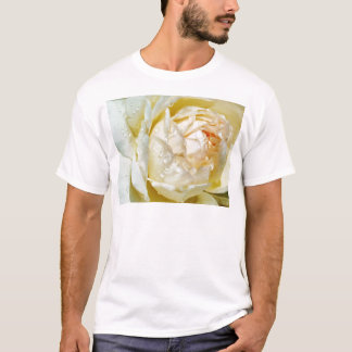 Raindrops on Champagne Blush  White Rose floral T-Shirt