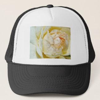 Raindrops on Champagne Blush  White Rose floral Trucker Hat