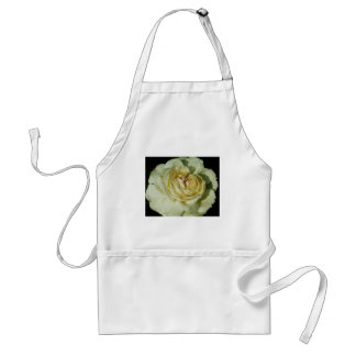 Raindrops on Champagne White Rose floral Adult Apron