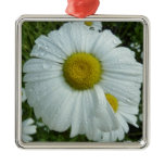 Raindrops on Daisy I Wildflower Nature Photography Metal Ornament