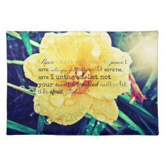 Raindrops on Flower Christian, encouragement Place Mat