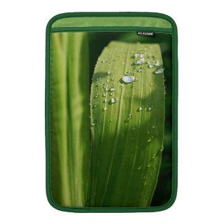 Raindrops on green leaf MacBook air sleeve