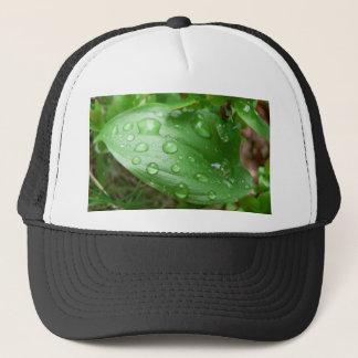 Raindrops On Green Leaf Trucker Hat