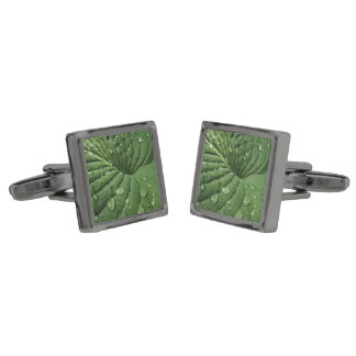 Raindrops on Hosta Leaf Cufflinks
