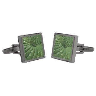 Raindrops on Hosta Leaf Cufflinks