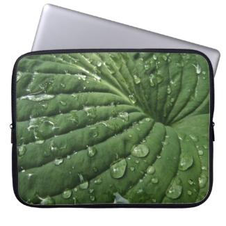 Raindrops on Hosta Leaf Laptop Sleeve