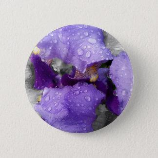 raindrops on iris pinback button
