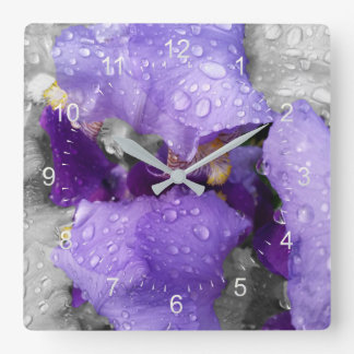 raindrops on iris square wall clock