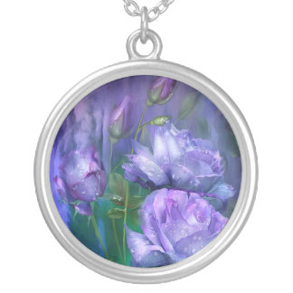 Raindrops On Lavender Roses Wearable Art Necklace